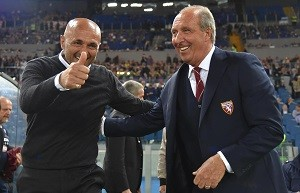 AS Roma's head coach Luciano Spalletti (L) and FC Torino's head coach Giampiero Ventura (R) during the Italian Serie A soccer match between AS Roma and FC Torino at the Olimpico stadium in Rome, Italy, 20 April 2016.   ANSA/ETTORE FERRARI